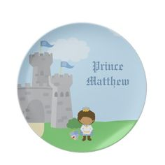 Personalized royal prince charming boys plate. By Jamene.