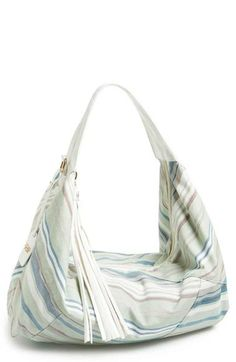 POVERTY FLATS by rian Striped Canvas Hobo | Nordstrom