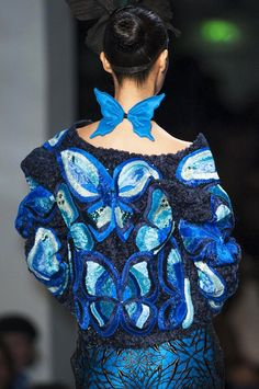 Blue #Butterfly Trend Jean Paul Gaultier Spring Summer 2014 #couture #fashion