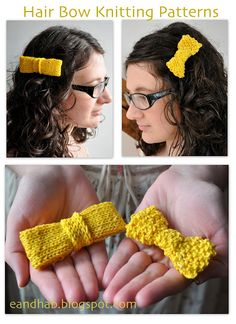 Knitting Patterns for Hair Bows Two Ways to Knit Hair Accessories After dyeing some yarn yellow with turmeric ( see tutorial here ). Crochet Hair Clips, Crochet Bows, Crochet Hair Styles, Crochet Motif, Knit Crochet, Crochet Earrings, Knitting Patterns Free, Free Knitting, Knitting Ideas