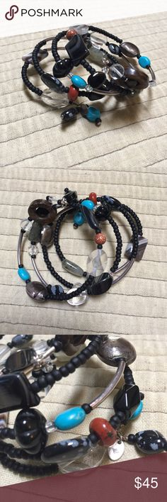 Silpada bracelet with various colors and beads Single wrap/coil bracelet. Various colors- black, silver, turquoise, rust orange, grey, clear, Silpada Jewelry Bracelets