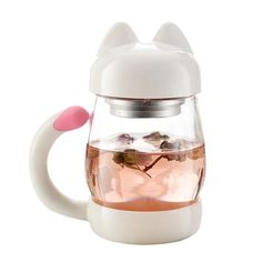 Cute Cat Glass Coffee Tea Mug with Filter is great for school or office. This cat shaped mug has a removable filter and lid. Purrfect gift for a cat lover. Buy A Kitten, Buy A Cat, Glass Water Bottle, Glass Bottles, Mug Chat, Getting A Kitten, Little Pool, Gadgets, Mugs