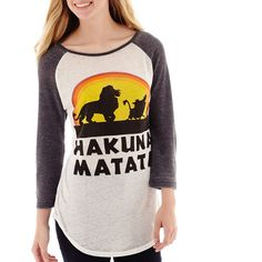 Disney Lion King Raglan-Sleeve Burnout Graphic T-Shirt ($15) ❤ liked on Polyvore featuring tops, t-shirts, 3/4 sleeve tee, white tops, white burnout tee, white graphic tee and burnout tee