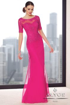 Alyce Jean De Lys mother of the bride dress style 29694 available online for purchase. Fall Dresses, Prom Dresses, Jovani Dresses, Formal Dresses, Gowns With Sleeves, Short Sleeves, Half Sleeves, Bride Gowns, Wedding Gowns