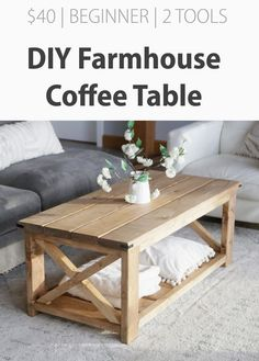 Build the farmhouse coffee table for under $40 with just a drill and a saw! This is a beginner friendly DIY project that should only take a couple hours to complete. You'll love the results - an absolutely gorgeous farmhouse coffee table made from solid wood, perfectly proportioned, with a large bottom storage shelf. Our free plans make it easy! Step by step diagrams, shopping and cut list from Ana-White.com #pallet #palletideas