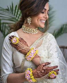 A smile and soul that lights up an entire room ——— Muse: Photographer: Henna: Makeup/Hair: Jewellery: Floral Jewellery: Outfit: Indian Wedding Jewelry, Indian Jewelry, Indian Weddings, Anarkali, Lehenga Choli, Sabyasachi, Bridal Lehenga, Flower Jewellery For Mehndi, Flower Jewelry