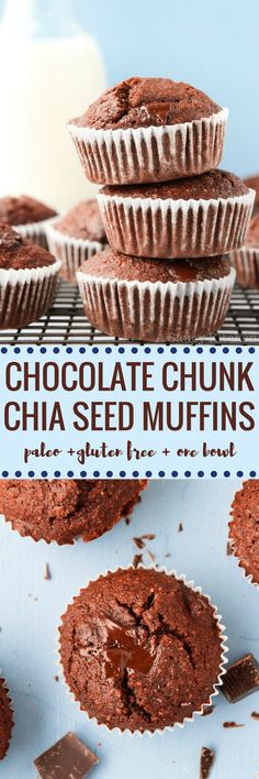 Chocolate Chunk Chia Seed Muffins - one bowl and 30 minutes! Gluten Free + Grain Free + Dairy Free