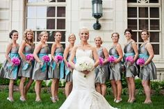 gray and aqua bridesmaids with pops of vibrant pink peonies!