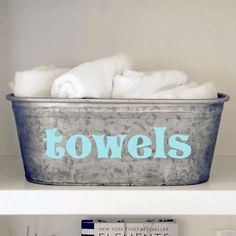 Accent your linen closet or mudroom with this stylish galvanized storage tub for hand towels or towelettes. Each tub features a hand painted design in light turquoise. Storage Buckets, Linen Storage, Hot Tub Room, Linen Closet, Metal Storage Bins, Towel Storage, Painted Closet, Metal Tub, Tub