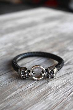 Skull Leather Bracelet for Men Stainless Steel Jewelry by Shiny Little Blessings.