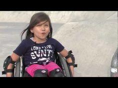 Jaylee Dutcher at the Skate Park... Girl in wheel chair skateboarding like her hero.