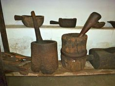 medieval wooden mortar and pestle