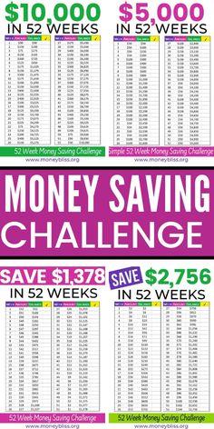 Handpick the 52 Week Money Saving Challenge for You - ideas Weekly Savings Plan, 52 Week Savings, Savings Challenge, Money Saving Challenge, Money Saving Tips, Money Tips, Saving Ideas, Saving Money Jars, Money Week