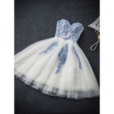 2017 Mini Short Homecoming Gown Dress Blue Flowers Embroidery Tutu... (150 BRL) ❤ liked on Polyvore featuring dresses, gowns, blue bandage dress, blue gown, bandage dress, blue evening gown and homecoming dresses