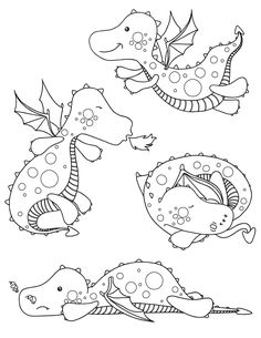 Cool Coloring Pages, Animal Coloring Pages, Adult Coloring Pages, Coloring Books, Kawaii Dragon, Cartoon Drawings, Cute Drawings, Chibi Kawaii, Doodle Characters