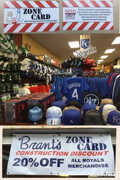Get the zone card deal for Downtown Construction! Sharp new banner!  20% OFF ALL ROYALS MERCHANDISE! #brantsclothing