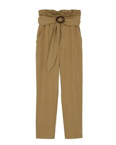 Relaxed Fit Acetate Tortoise Buckle Belt & 2 Side Slant Pockets Marble Button & Zip Closure Color- Solar Beige Lyocell, Poly Dry Clean By Nanushka. Paperbag Pants, Elastic Waist Pants, Boyish, Belt Buckles, Solar, Khaki Pants, Pajama Pants, Beige, Tortoise