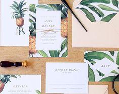 Painted Botanicals Wedding Invitation & por rachelmarvincreative