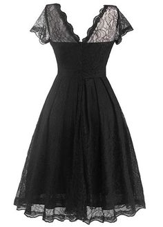 Cap Sleeve Black Lace A Line Dress on sale only US$29.69 now, buy cheap Cap Sleeve Black Lace A Line Dress at lulugal.com