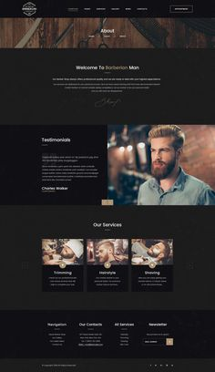 Buy Barberian - Professional Barber Shop & Hair Salons PSD Template by DENYSTHEMES on ThemeForest. Barberian our PSD template suitable for everyone that also need an elegant and beautiful solution for for any kind of. Website Layout, Web Layout, Layout Design, Design Design, Design Ideas, Graphic Design, Interior Design, Professional Barber Shop, Professional Hair