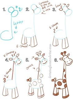 Big Guide to Drawing Cartoon Giraffes with Basic Shapes for Kids - How to Draw S. - Big Guide to Drawing Cartoon Giraffes with Basic Shapes for Kids – How to Draw Step by Step Drawin - Drawing Lessons, Drawing Videos For Kids, Art Lessons, Drawing Tips, Drawing Ideas, Basic Drawing For Kids, Easy Drawings For Kids, Teaching Drawing, Drawing Drawing
