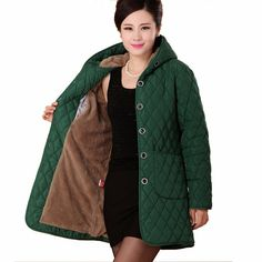 fc0afcf8fba HANQIYAHULI 2017 Womens Cotton Jacket Plus Size 4XL Winter Coat Thicken Warm  Parka Female Patchwork Hooded Overcoat-in Parkas from Women s Clothing ...