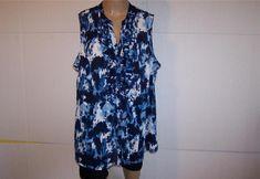 LANE BRYANT Shirt Blouse Sz 24 Ruffled Button Front Sleeveless Sheer Blue White #LaneBryant #ButtonDownShirt #Casual