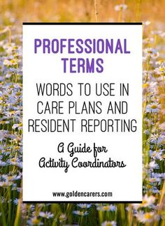 Professional Terms: Sometimes it is hard to find words to convey what one sees or hears in an objective way. The list below will assist you when working on documentation at the end of your day.
