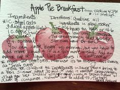 """Apple Pie Breakfast. Watercolor by Tisha Sheldon. Recipe from,""""cooking with Jax"""""""