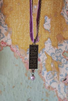 Necklace Embossed Charm-Faith   Garden Gallery Iron Works