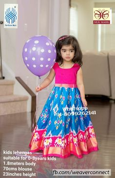 Exclusive ikkat kids lehengas available in stock ready to ship Whatsapp Measurements: Suitable for age group body blosue height Indian Dresses For Girls, Dresses Kids Girl, Kids Outfits, Baby Frocks Designs, Kids Frocks Design, Indian Baby Girl, Kids Ethnic Wear, Kids Blouse Designs, Kids Lehenga