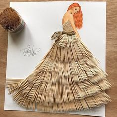 Haute couture made from everyday objects - the fashion drawings by Edgar Artis -. Arte Fashion, Paper Fashion, 3d Fashion, Fashion Beauty, Fashion Illustration Sketches, Fashion Sketches, Dress Sketches, Fashion Sketchbook, Fashion Design Drawings