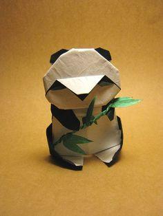 origami panda by Akira Yoshizawa. For World Origami Day. Kirigami, Origami Day, Paper Crafts Origami, Craft Paper Design, Japanese Inventions, Origami Paper Folding, Paper Engineering, Folded Book Art, Japanese Paper