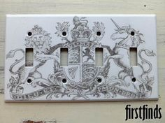 Quad Coat of Arms Switch Plate Vintage Graphic by Firstfinds