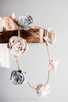 DIY no sew, shabby chic flower garland