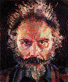 Chuck Close is famous for his use of grids in his portrait work. Here, he uses a circular grid to create a man's face. Credit: man face portrait by Chuck Close Hyperrealism, Photorealism, Chuck Close Art, Chuck Close Portraits, Chuck Close Paintings, Lucas Samaras, Lucas 2, L'art Du Portrait, Inspiration Art