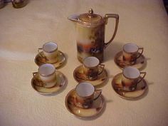 14 PC HAND PAINTED NIPPON CHOCOLATE SET, SWANS AT SUNSET