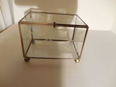 Vintage  Brass Glass etched Table Top Curio Cabinet Display Shelf Case box