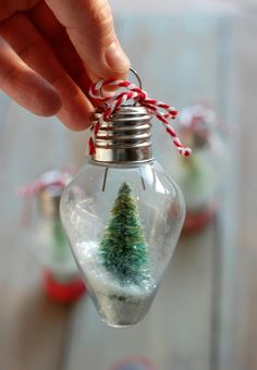 DIY a mini snow globe ornament with this tutorial.