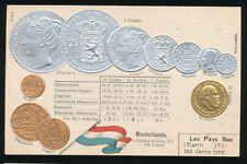 Niederlande   Ansichtskarte  Prägekarte  Münzen   Silber + Gold   Gulden
