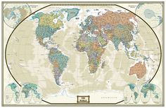 Map time! This is a current world map featuring an antique style with astounding detail & board room quality making it excellent for reference or as a keepsake.