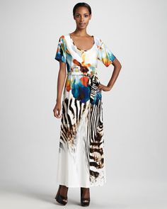 Exotic-Printed Maxi Dress, Women\'s by Melissa Masse at Neiman Marcus.