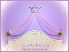 Shabby Chic Wall / Bed Crown White Pink Bling by sweetlilboutique