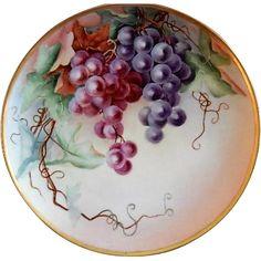 Haviland Limoges Hand Painted 'Grapes' Motif Plate - Artist Signed