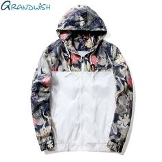 ea1434b62ae8 Grandwish Floral Bomber Jacket Men Hip Hop Slim Fit Flowers Pilot Bomber  Jacket Coat Men s Hooded