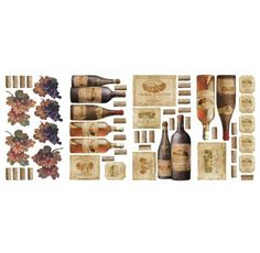 56 Wall Decals Wine Tasting Peel Stick Grapes Bottles Stickers Kitchen Decor for sale online Wall Stickers Dining Room, Big Wall Stickers, Kitchen Stickers, Kitchen Wall Decals, Vinyl Wall Decals, Kitchen Decor, Kitchen Pantry, Kitchen Ideas, Wine Bottle Wall