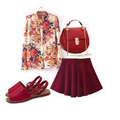 Camisa, bolsa e saia: Aliexpress Avarca vermelha: Ana Mello