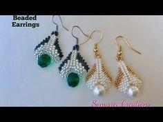 Beaded drop Earrings (Peyote and herringbone) - YouTube