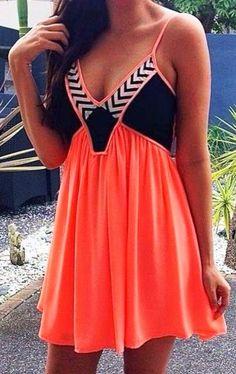 dress orange dress little black dress summer dress cute dress striped dress mini dress zig zag colorblock sundress short dress thin strap embellished orange mini dress Mode Outfits, Fashion Outfits, Womens Fashion, Fashion Ideas, Hipster Outfits, Ladies Fashion, Dress Fashion, Teen Fashion, Looks Style