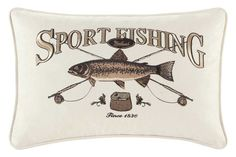 From Woolrich's Grand Canyon Bedding Collection - Grand Canyon Oblong Sport Fishing Pillow - buy from Lights in the Northern Sky www.lightsinthenorthernsky.com